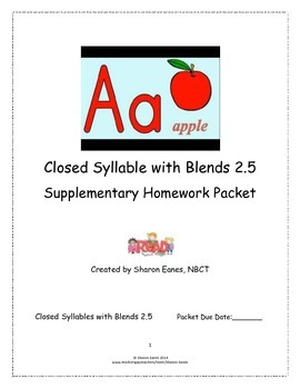 Closed Syllable 2.5 Supplemental Homework Packet