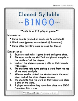 Closed Syllable BINGO Literacy Center Activity/Game