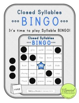 Closed Syllable BINGO Literacy Center Activity/Game