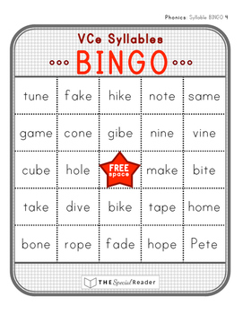 VCe Syllable BINGO Literacy Center Activity/Game