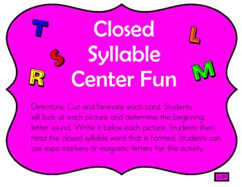 Closed Syllable Center Fun