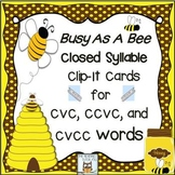 Closed Syllable Clip Cards