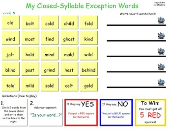 Closed-Syllable Exception Battleship Game