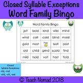 Closed Syllable Exceptions Bingo