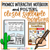 Closed Syllable Exceptions Interactive Notebook Activities and Posters