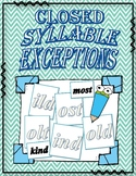 ild, ind, old, ost, old: Closed Syllable Exceptions