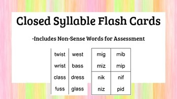 Closed Syllable Flash Cards - 125 cards short vowels