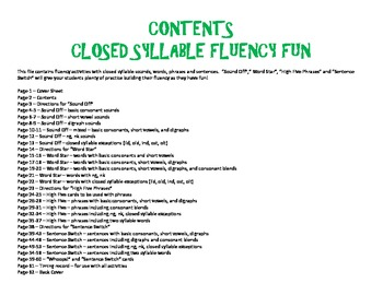 Closed Syllable Fluency Fun - Sounds, Words, Phrases, and Sentences