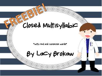 Closed Syllable Multi-syllabic FREEBIE