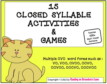 15 Games and Activities Teaching Closed Syllables With Mul