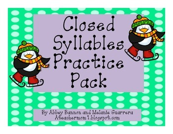 Closed Syllable Practice Pack