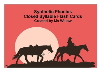 Closed Syllable/Short Vowel Flash Cards A4 Size