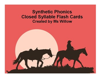 Closed Syllable/Short Vowel Flash Cards US Letter Size