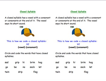 Closed Syllable Short Vowels Video and Student Reference Sheet