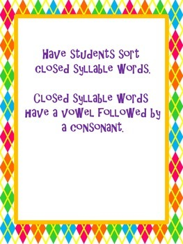 Closed Syllable Sort