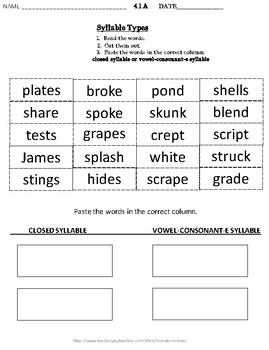 Closed Syllable, Vowel Consonant E Syllable, NOT ENDORSED BY WILSON READING