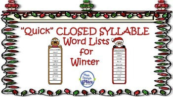Closed Syllable Winter Quick List