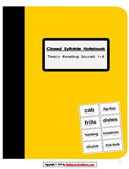 Closed Syllable Word Cards & Word Work Notebook