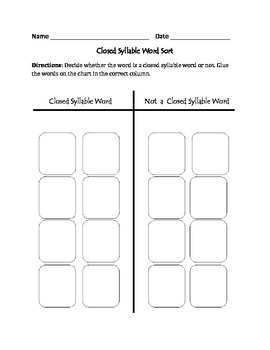 Closed Syllable Words: Cut, Sort, & Paste Activity