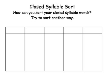 Closed Syllable word sort -
