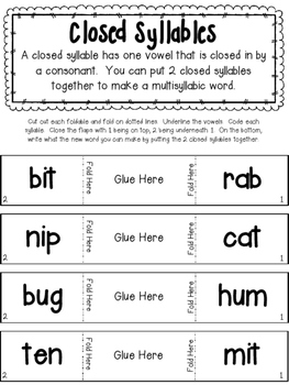 Closed Syllables and VCCV- Interactive Notebook Part 1