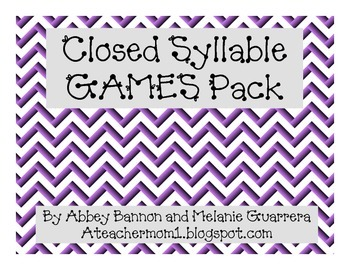 Closed Syllables Phonics Games Pack