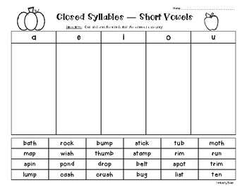 Closed Syllables -  Short Vowel Sort - Sorting Worksheet