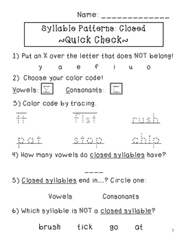 Closed Syllables: Vowel/ Consonant Patterns #1