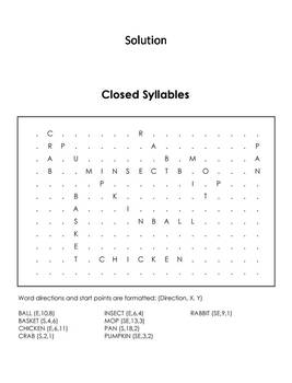 Closed Syllables Word Search