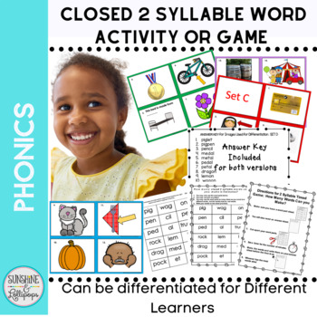 Closed Two Syllable Word Game or Read the Room