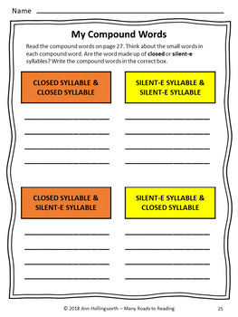 Closed and Silent-E Syllable Sort Grades 2-3