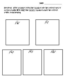 Closed and Silent-e Syllable Sort