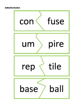 Closed/Vowel-Consonant-E Syllable Puzzles