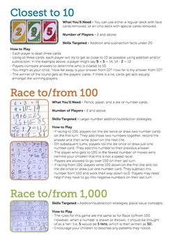 Closest to 10, Race to 100 & Race to 1,000.