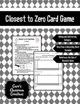 Closest to Zero Card Game