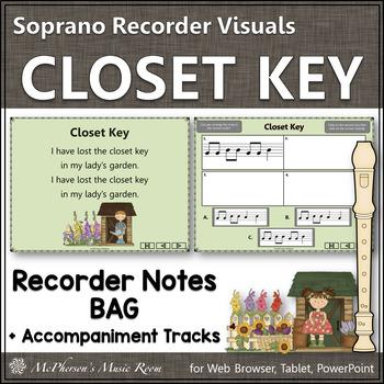 """Recorder Song """"Closet Key"""" (Notes GAB) soprano recorder visuals"""