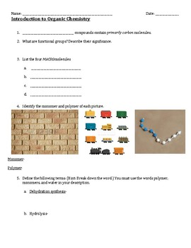 Closing Activity: Introduction to Organic Chemistry