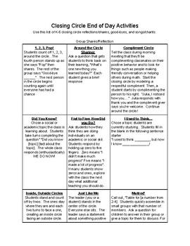 Closing Circle K-6, K-2, 3-6 Activities