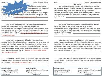 Closing Sentence Practice (Dust Storm Paragraphs)
