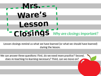 Closing (Summarizing) Lessons