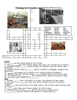 Closing the Frontier and Native American Resistance Crossword or Web Quest