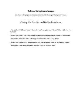 Closing the Frontier and Native American Resistance Writing Topics and Essays