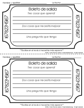 Exit Slips for Spanish Class