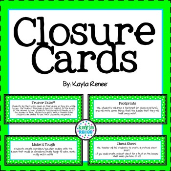Formative Assessment/ Lesson Closure Cards (Green)