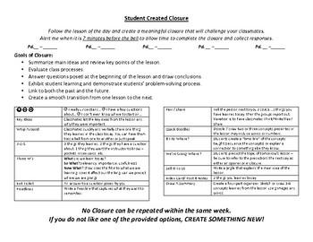 Closure Protocol - Student Created