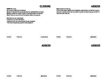 Closure, Writing, Inquiry, and Assess Teaching Strategy Cards