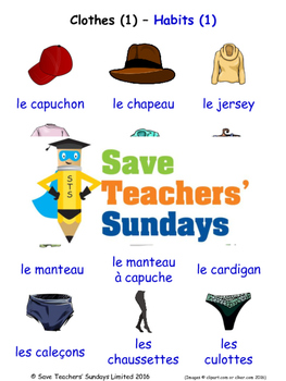 Clothes 1 in French Worksheets, Games, Activities and Flash Cards