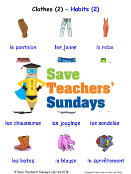 Clothes 2 in French Worksheets, Games, Activities and Flash Cards