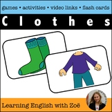 Clothes Flash Cards, Activities, and Games for ELL and ESL