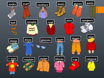 Clothes- Introduction to Thematic Vocabulary Powerpoint ( ESL Students)